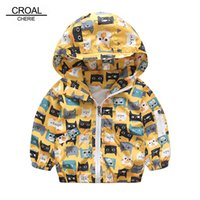 CROAL CHERIE 90-120 см кошка печати активные дети мальчик куртка ветровка желтый Детская одежда девушки пальто осень верхняя одежда