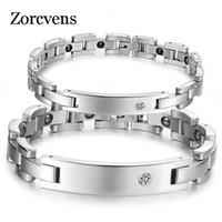ZORCVENS 2018 новых любителей магнитные браслеты здоровья браслеты из нержавеющей стали 316L цирконий браслет для женщин мужчин