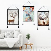 Modern Home Living Room Decor Cotone Lino Pittura Deer Horn Wall Art Hanging Arazzi Dipinti con nappe