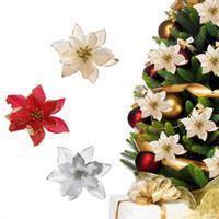 13 cm 30 pçs / lote Artificial Glitter Flores De Natal Árvore Pingente de Gota Ornaments Decorações De Natal Vermelho Feliz Ano Novo Decoração