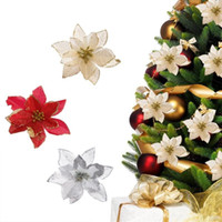 13cm 30pcs / Lot 인공 반짝이 크리스마스 꽃 나무 펜던트 드롭 장식품 빨간 크리스마스 장식 새해 장식