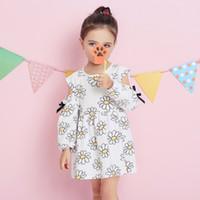 لوليتا نمط الربيع الصيف فتاة اللباس ديزي زهرة المطبوعة طويلة الأكمام القوس تصميم الفتيات فساتين الأطفال الملابس