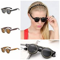 Flip Up Lens Steampunk Vintage Retro Round Sunglasses Gothic...