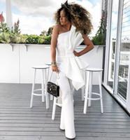 Yeni chic Vintage Bir Omuz Beyaz Kadın Tulum Gelinlik Büyük Yay Ile Örgün Parti Abiye giyim Custom Made Özel Durum Elbise