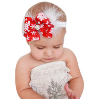 Christmas Baby Girls Toddler Bow Feather Headband Snow Flowe...
