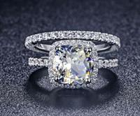 3CT Kissen Synthetische Diamanten Engagement Halo Ring Band Solide 925 Sterling Silber Erklärung Braut Hochzeitsgeschenk Für Braut