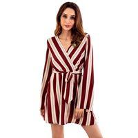 2019 Autunno Fashion Dress femminile a righe con scollo a V abito da donna  sexy maniche lunghe campana Elastico vita alta A-Line Mini Autunno Dress 7347e4c5d74
