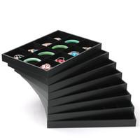 Black Series Sieraden Display Lade met Hoge Kwaliteit Zwarte Stof Leer Materiaal Oorbellen / Ketting / Ring Standhouder