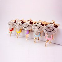 Lovely Monkey Crystal HandBag Pendant Metal Animal Keyring K...