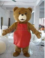Teddy bear red apron mascot costume Free Shipping Adult Size...
