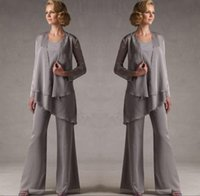 Mother Of The Groom Grey Chiffon Bridal Mother Bride Pant Su...