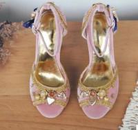 2018 Été Chunky talon pompes Parti Chaussures En Cuir Souple Femelle Sangle À La Cheville Strap Pompes Peep Toe Talons Hauts Diamond Stud