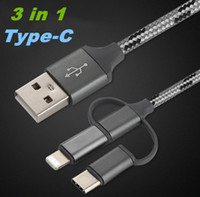 3 in 1 high quality 1M tpye- c Micro USB Sync Data Cable Char...