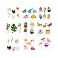 106Styles Cartoon-Revers-Stifte-Set Abzeichen Topf Collar-Brosche für Frauen Abzeichen Cactus Emaille Pin Dekorative Broschen Stoff Schmuck