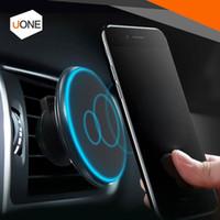 Magnetico Qi Caricabatteria da auto per auto Caricabatterie Air Vent Mount Supporto girevole a 360 ° 5V / 2A per iPhone 8 X Samsung Galaxy S8 con confezione
