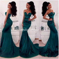 Cazador árabe Vestidos de sirena verdes Traje de noche 2018 Sweet Heart Backless Sweep Train Largo Formal Vestidos de fiesta de graduación Abendkleider