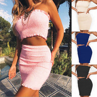 Sexy Women Mini Dresses Suits Summer Solid Strapless Crop Be...