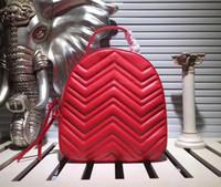 Classic V Motivo a onde sacchetto di scuola Marmont donne zaino zaini per il tempo libero di cuoio reale trapuntato borse Mochila