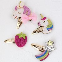 1PC Glitter Rainbow Snap Hair Clips Rose Color Felt Strawber...
