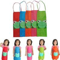 Moda Hot Cute Children Grembiule impermeabile Cartoon Frog Stampato Pittura Cottura di alta qualità bella ragazza ragazzo