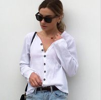 2018 Autumn Shirt White V- neck Long Sleeve Women Blouses Fem...