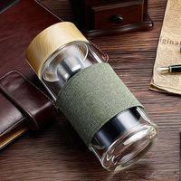زجاجة 400ML زجاج الماء مع الشاي المساعد على التحلل الطراز الأوروبي مصفاة مقاوم للحرارة السفر مكتب سيارة زجاجات الشرب فناجين