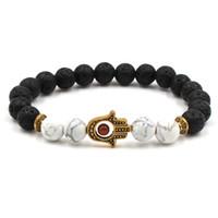 Unisex Casual Lava Rock Perlen Hand Armband 8mm Legierung Naturstein Fatima Palm Armreifen Für Frauen Männer Geschenk