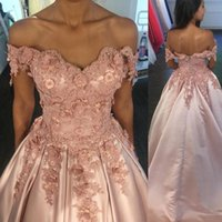 Pink Prom Dresses 2018 Sexy A Line Off- the- Shoulder Floor- Le...