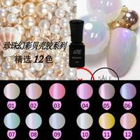 Vente en gros-12 Couleur 5ML CHE Pearl Shell Gel Soak Off LED UV Nail Art Builder polonais manucure Gel bricolage Salon Set
