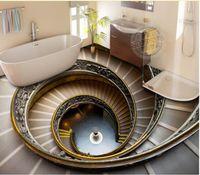 гостиная обои винтовая лестница 3D этаж открытый трехмерный окрашены стены фон