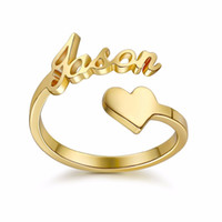 3UM Gold custom Spiral Ring Personalized Name Ring With Hear...
