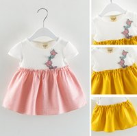 Baby Girl Pink Dress Flower Ricamo Manica corta Collo a barca Mini abiti Baby Abbigliamento Estate Girl Wear