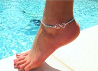 2018 New product selling circle Natural turquoise anklet han...
