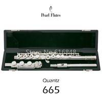 Pearl Quantz PF-665 Flöjt 17 Nycklar Öppna hål Silverpläterad yta Cupronickel Flöjt Märke Musikinstrument med E-nyckelfall