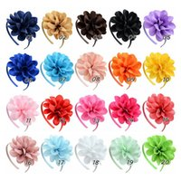 20pcs lot Solid Grosgrain Ribbon Big Flowers Hairbands Princ...
