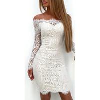 2018 Moda Feminina Senhoras Elegantes Manga Comprida Lace Floral Fora Do Ombro Vestido Bodycon Magro Branco Casual Party Mini Vestido Vestidos D1891304