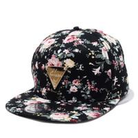 NaroFace Mujer Floral Estampado de flores Snapback Hip-Hop Sombrero Gorras  de béisbol de algodón ajustables planas Sombreros para el sol 4Colores 2f659190e9b