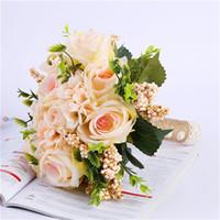 2018 buquê de noiva flores de noiva artificial rosa buquês de casamento casamen rendas pérola flores do casamento bouquet de mariage boda