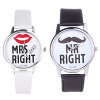 Couple Men Women Watches Mrs and Mr Right Ladies Watch Brace...