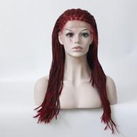Burgunder Handgebundene hitzebeständige Faserhaarperücken synthetische geflochtene Spitzefrontperücke für schwarze Frauen