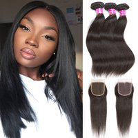 Malaysia Straight Virgin Hair Bundles Extensions 10A Unproce...