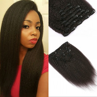 7pcs Kinky reta Clip In Hair Extensions para Indian Virgin Cabelo Humano Natural Negras para frete grátis G-EASY