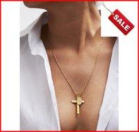 Colar de Pingente de cruz Banhado A Ouro de Aço Inoxidável Moda Jóias Religiosas Oração Jóias Amigo Presente Anel de Orelha acc035