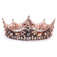 빈티지 바로크 크리스탈 웨딩 신부 크라운 라운드 티아라 럭셔리 라인 석 퀸 헤어 액세서리 이브닝 파티 모자를 쓰고 있죠 쥬얼리 드롭 배송
