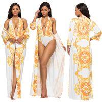 여성용 아름다움 인쇄 수영복, 섹시한 여름 해변 착용, Bodysuits, 수영복 세트, 두 조각 세트와 케이프