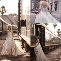 New Arrival A Line Beach Wedding Dresses Scoop Neck Sweep Tr...