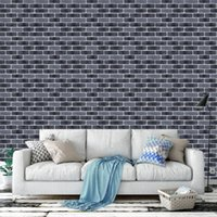 Stacked brick 3d stone wallpaper modern wallcovering pvc rol...