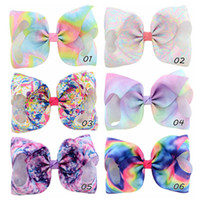 6pcs 8 Inch Large Rainbow Striped Gradient Print Grosgrain R...