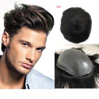 Pu completa para los hombres Toupee 5 de color fino estupendo de la piel de la PU V bucle de pelo humano para hombre Bisoñes reemplazo Sistemas postizo para hombre de la peluca