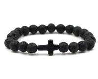 Natural black stone stone cruz pulseiras cura equilíbrio pulseira de miçangas para Mulheres Dos Homens Estiramento Yoga Jóias 470